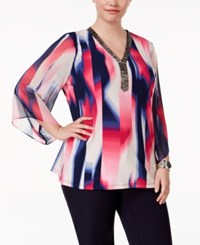 Jm Collection Plus Size Beaded Printed Tunic Only At Macy's Prism Blur