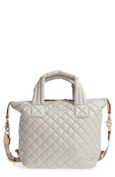M Z Wallace Mz Small Sutton Quilted Oxford Nylon Tote Beige Atmosphere Metallic