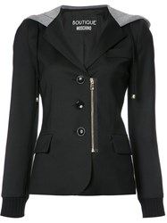 Boutique Moschino Stylised Hooded Blazer Black