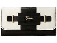 Guess Greyson Slim Clutch Black Multi Clutch Handbags