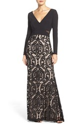 Xscape Evenings Women's Jersey And Burnout Mesh Gown