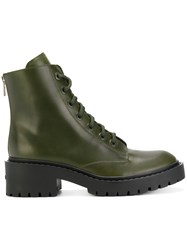 Kenzo Combat Boots Women Leather Rubber 35 Green