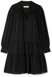 Michael Michael Kors Tasseled Tiered Crepon Mini Dress Black