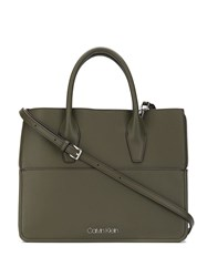 Calvin Klein Logo Plaque Tote Bag Green