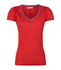 Maje Trocadero Lurex Trim T Shirt Female Red