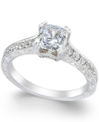 Macy's Diamond Channel Set Engagement Ring 1 1 3 Ct. T.W In 18K White Gold