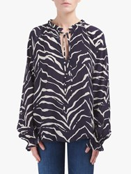 Lily And Lionel Florence Animal Print Top Tiger Navy
