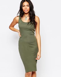 Brave Soul Ribbed Body Conscious Midi Dress Khaki