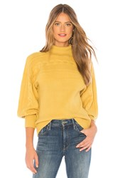 J.O.A. Turtleneck Cable Knit Pullover Sweater In Mustard