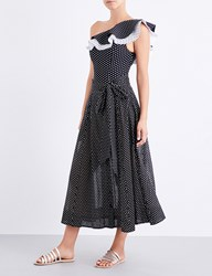 Lisa Marie Fernandez Ladies Black Cot W White Polka Classic Polka Dot Cotton Skirt