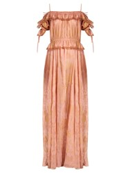 Valentino Shadows Of Delight Off The Shoulder Silk Gown Pink