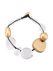 Monies Clear Bead Necklace Gold