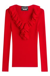 Boutique Moschino Ribbed Knit Top With Ruffle Collar Red