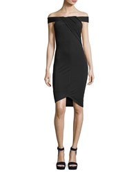 Kendall Kylie Off The Shoulder Crossover Crepe Dress Black
