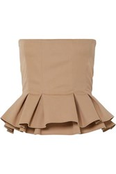 Brock Collection Cotton Poplin Peplum Bustier Top Beige