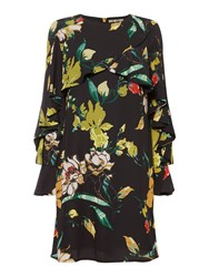 Biba Frill Panel Floral Shift Dress Black Multi
