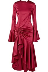 Caroline Constas Monique Ruched Stretch Silk Satin Gown Burgundy