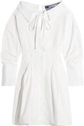 Jacquemus Pintucked Cotton Mini Dress White