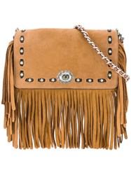 Coach Fringed Crossbody Bag Women Leather One Size Brown