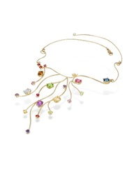 Forzieri 18K Yellow Gold Multi Gemstones Necklace Multicolor