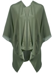 P.A.R.O.S.H. Cropped Sleeve Waterfall Jacket Women Silk M Green