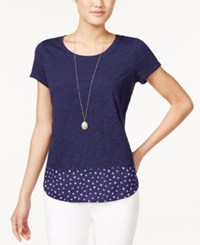 Maison Jules Contrast Print T Shirt Only At Macy's Blu Notte Combo