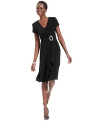 R And M Richards Short Sleeve Faux Wrap Dress Black