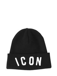 Dsquared Icon Embroidered Wool Knit Beanie Hat