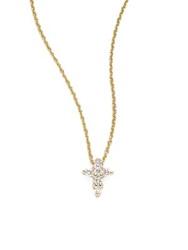 Roberto Coin Tiny Treasures Diamond And 18K Yellow Gold Mini Cross Pendant