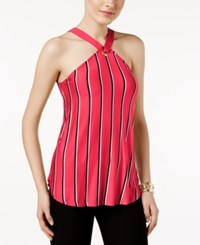 Cable And Gauge Striped Grommet Halter Top Jazzy Pink Black White