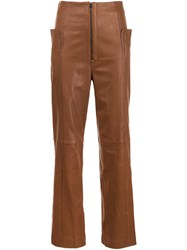Tibi Leather Trousers Brown