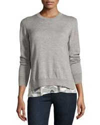Grey By Jason Wu Melange Wool Lace Trim Sweatshirt Gray