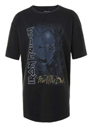 Topman Washed Black Iron Maiden Print Oversized T Shirt