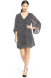 Alice Olivia 'Shary' Sheer Sequin Tunic Dress Black Silver