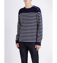The Kooples Striped Knitted Jumper Burgundywhite Black