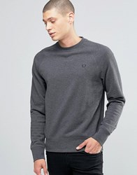Fred Perry Sweatshirt With Raglan Sleeves In Graphite Marl Graph Ml Grey