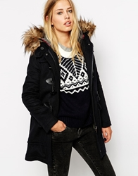 Pepe Jeans Duffle Coat With Faux Fur Trimmed Hood Navy