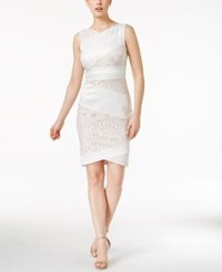 Jax Asymmetrical Lace Panel Sheath Dress Ivory