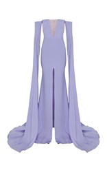 Alex Perry The Satin Crepe Strapless Crinoline Long Sleeve Gown Purple