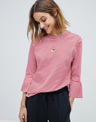 Maison Scotch Clean Striped Fluted Sleeved T Shirt Color 18 Red Stripe