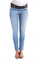 Maternal America Women's Maternity Ankle Skinny Jeans Light Wash
