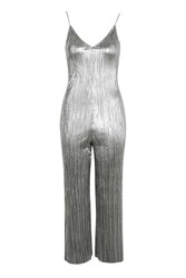 Topshop Pleated Slouch Jumpsuit Silver