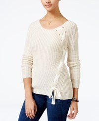 American Rag Lace Up Sweater Only At Macy's Egret