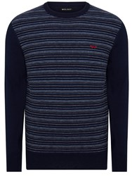 Wolsey Merino Stripe Crew Neck Pull Over Jumpers Total Eclipse