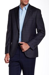 Peter Millar Charcoal Check Notch Lapel Two Button Wool Sport Coat Gray