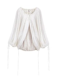 Ashish Sequinned Gathered Balloon Sleeve Top White