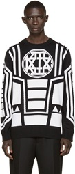 Ktz Black And Ivory Knit Logo Sweater