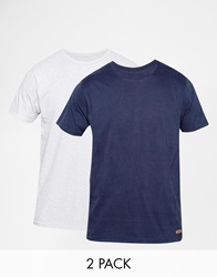 Brave Soul 2 Pack T Shirt Navy