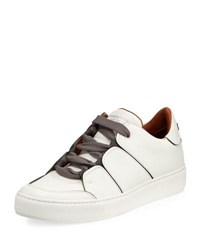 Ermenegildo Zegna Tiziano Men's Leather Low Top Sneaker White