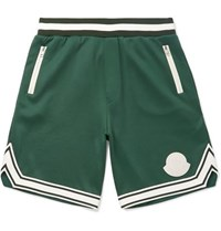 Moncler Striped Jersey Shorts Green